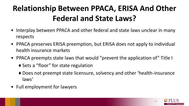 Relationship Between PPACA, ERISA And Other