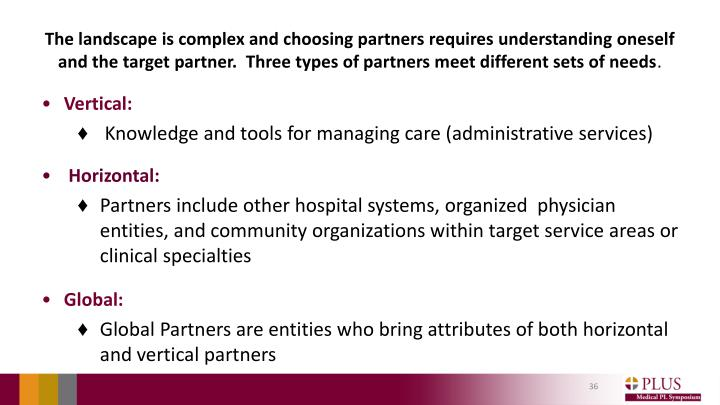The landscape is complex and choosing partners requires understanding oneself and the target partner.  Three types of partners meet different sets of needs
