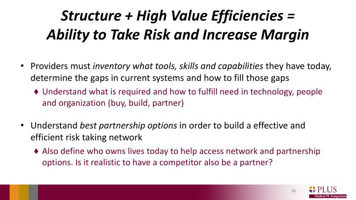 Structure + High Value Efficiencies =