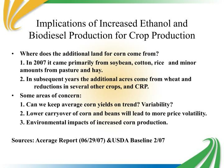 Implications of Increased Ethanol and Biodiesel Production for Crop Production
