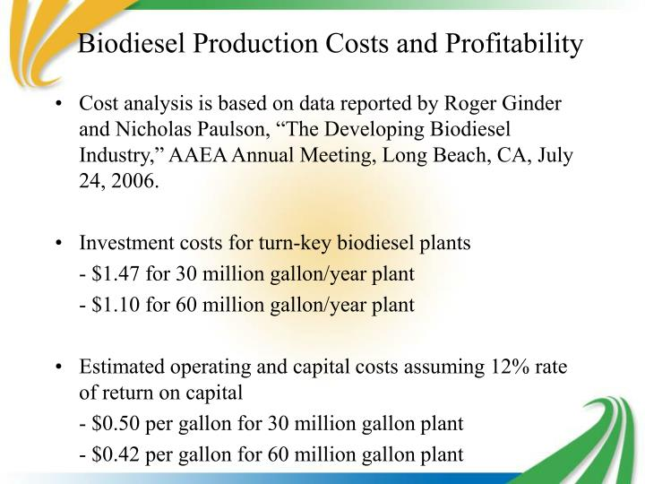 Biodiesel Production Costs and Profitability