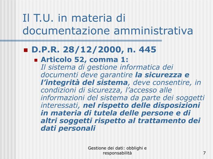Il T.U. in materia di documentazione amministrativa