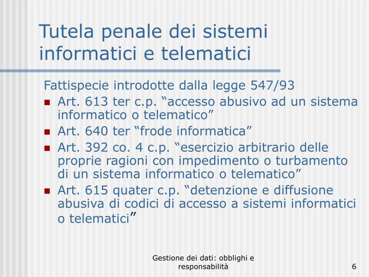 Tutela penale dei sistemi informatici e telematici
