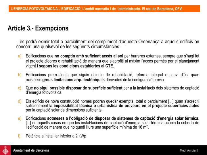 Article 3.- Exempcions