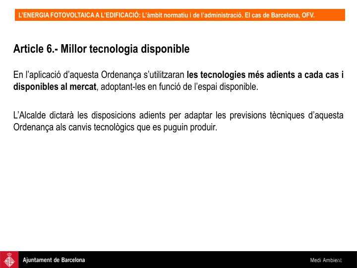 Article 6.- Millor tecnologia disponible