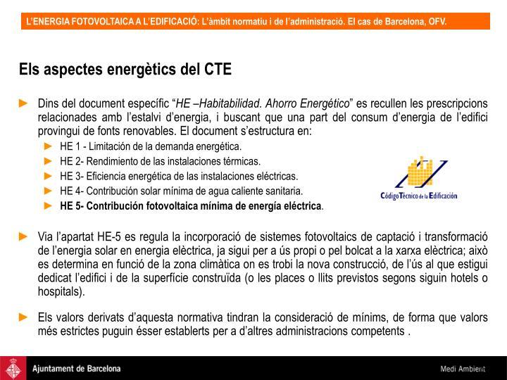 Els aspectes energètics del CTE