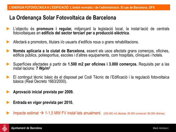 La Ordenança Solar Fotovoltaica de Barcelona