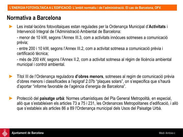 Normativa a Barcelona