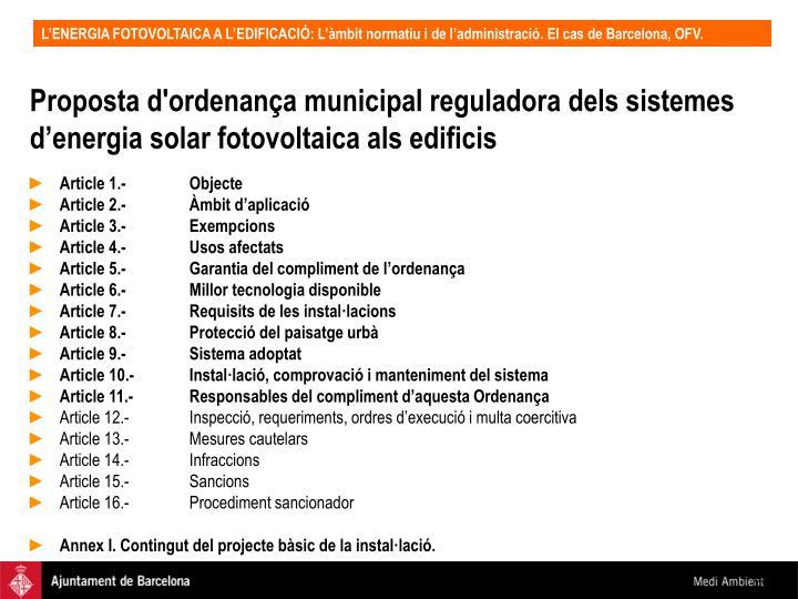Proposta d'ordenança municipal reguladora dels sistemes d'energia solar fotovoltaica als edificis
