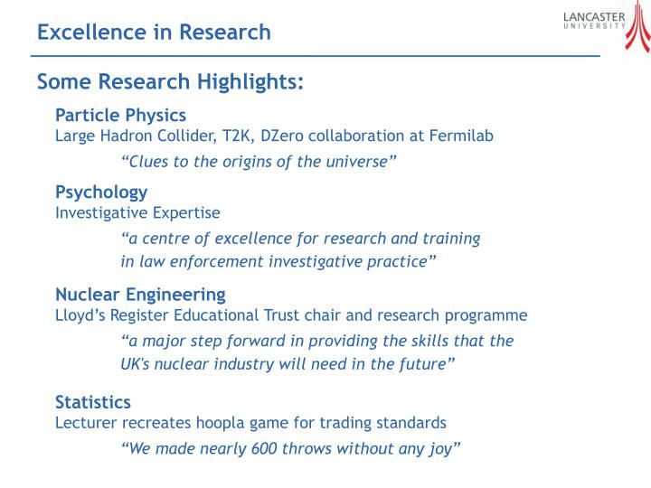 Excellence in Research