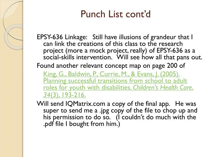 Punch List cont'd