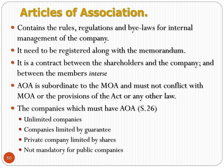 Articles of Association.