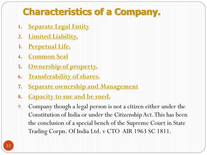 Characteristics of a Company.