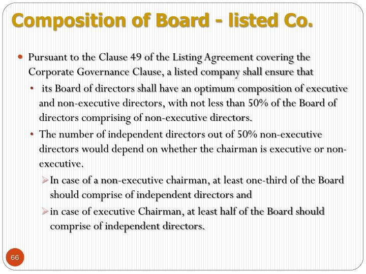 Composition of Board - listed Co.