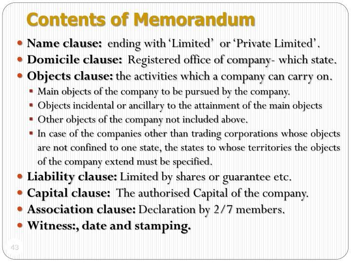 Contents of Memorandum