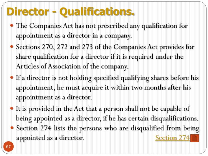 Director - Qualifications.