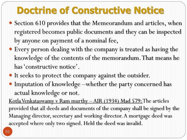 Doctrine of Constructive Notice