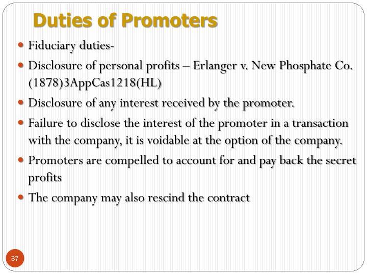 Duties of Promoters