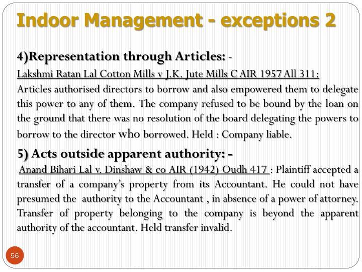 Indoor Management - exceptions 2