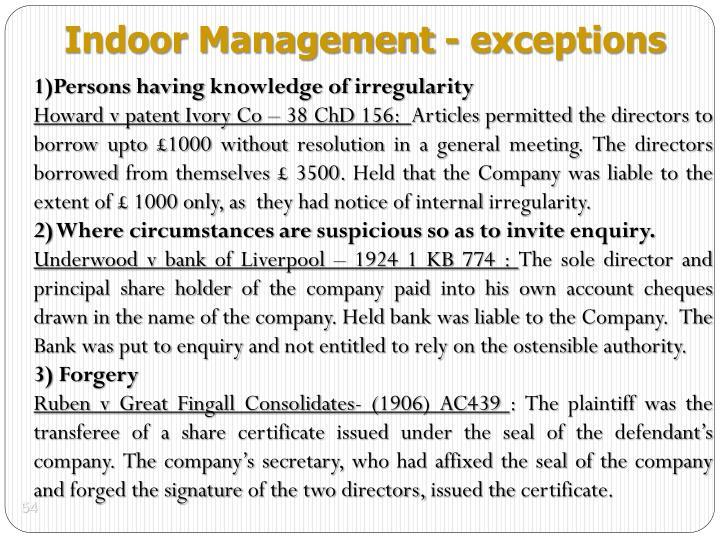 Indoor Management - exceptions