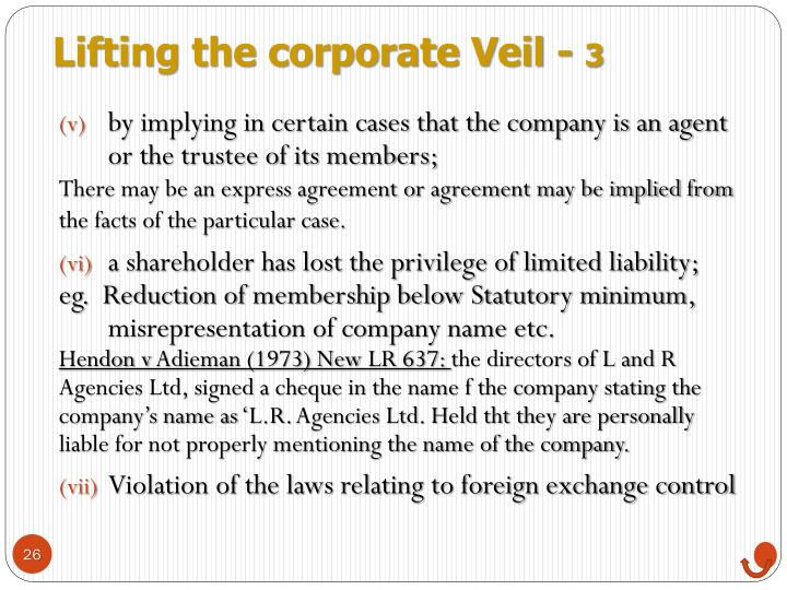Lifting the corporate Veil -