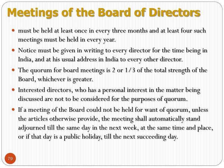 Meetings of the Board of Directors
