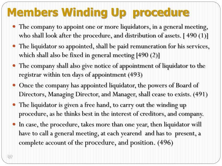 Members Winding Up  procedure