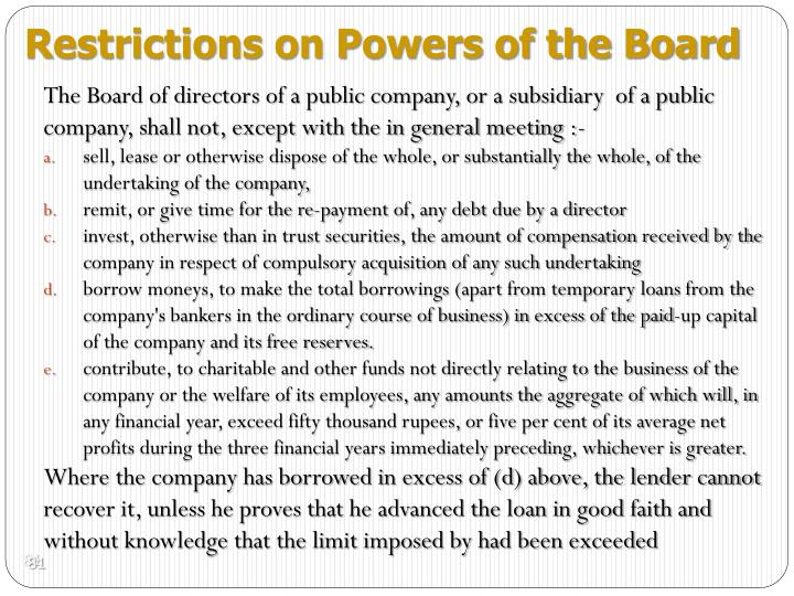 Restrictions on Powers of the Board