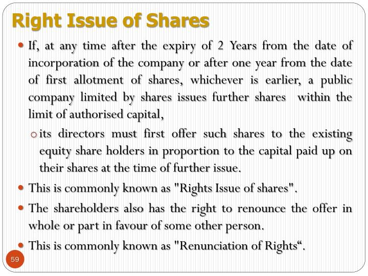 Right Issue of Shares