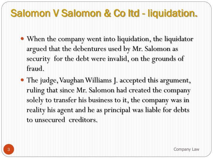 Salomon V Salomon & Co ltd - liquidation.