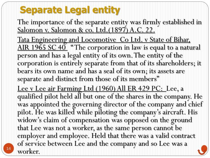 Separate Legal entity