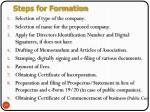 steps for formation