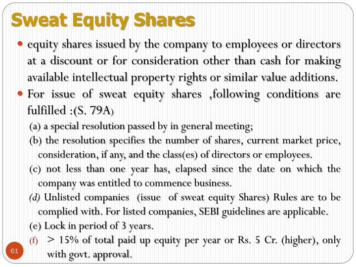 Sweat Equity Shares