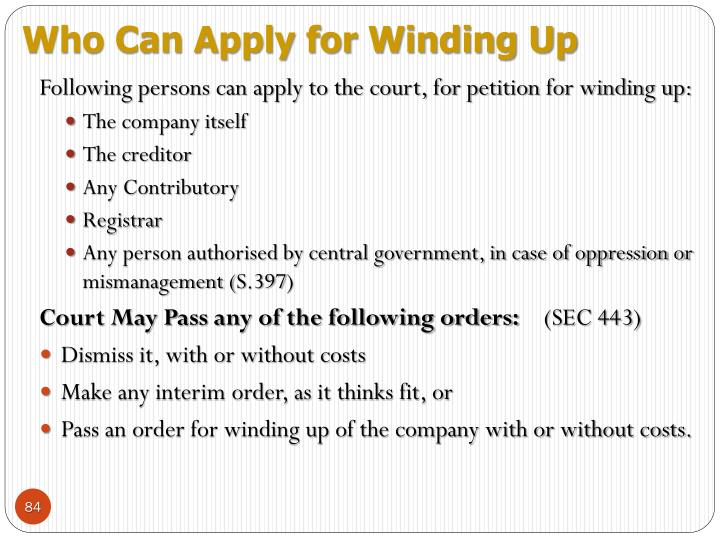 Who Can Apply for Winding Up