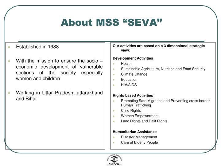 """About MSS """"SEVA"""""""