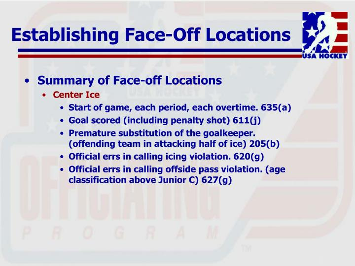 Summary of Face-off Locations