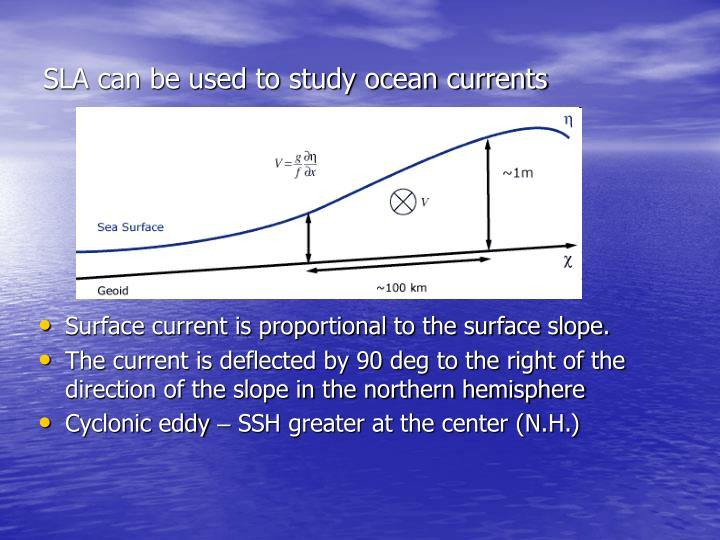 SLA can be used to study ocean currents