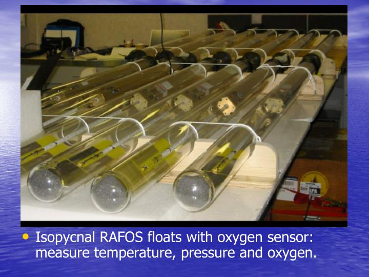Isopycnal RAFOS floats with oxygen sensor: measure temperature, pressure and oxygen.