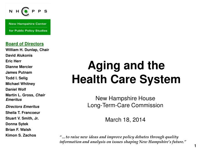 Aging and the health care system
