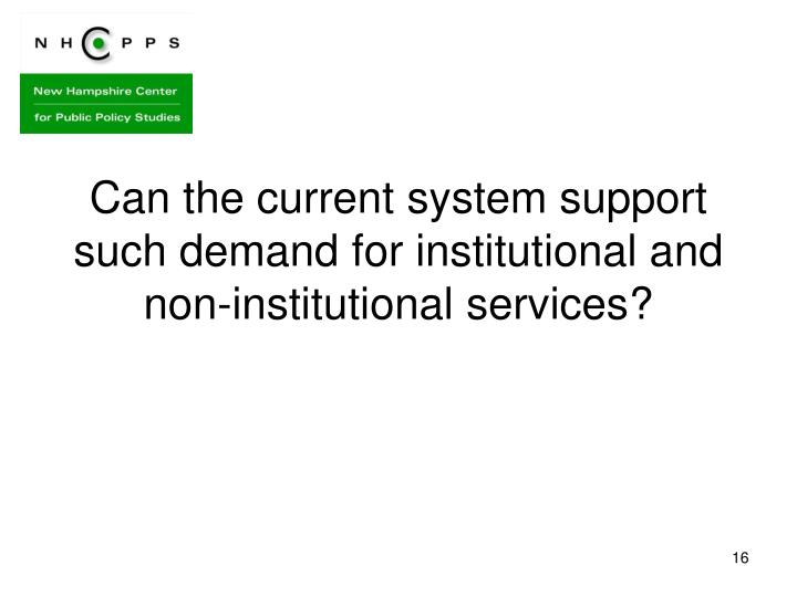 Can the current system support such demand for institutional and non-institutional services?