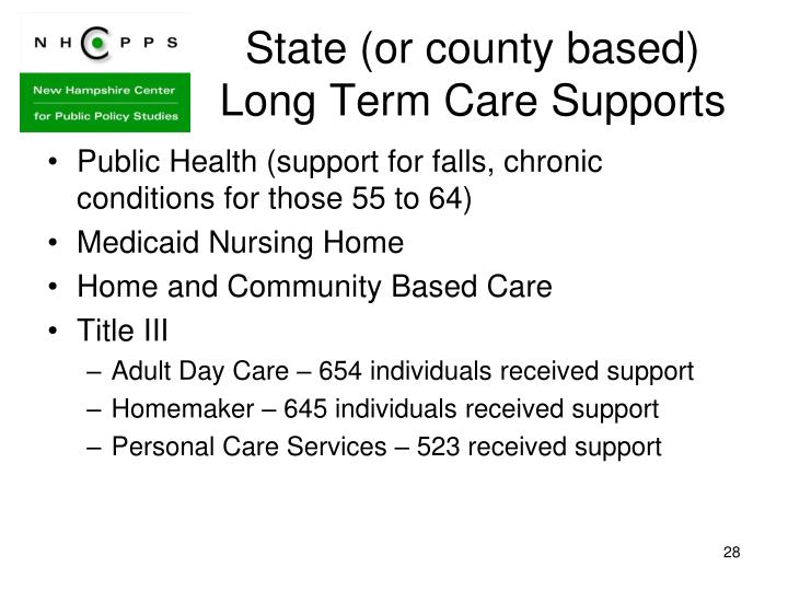 State (or county based) Long Term Care Supports