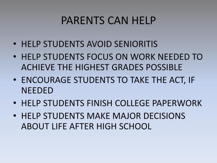 PARENTS CAN HELP