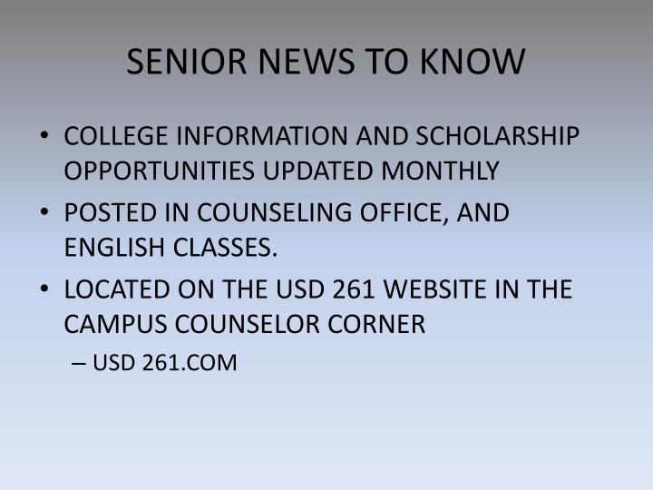 SENIOR NEWS TO KNOW