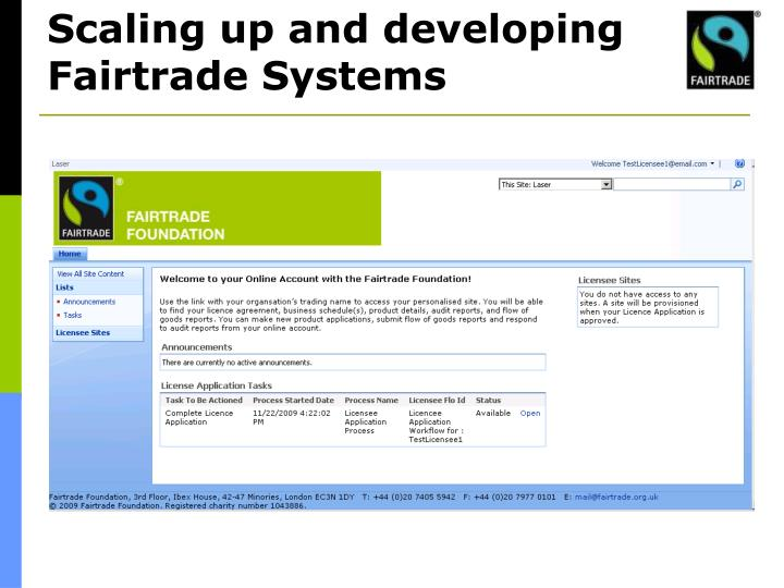 Scaling up and developing Fairtrade Systems