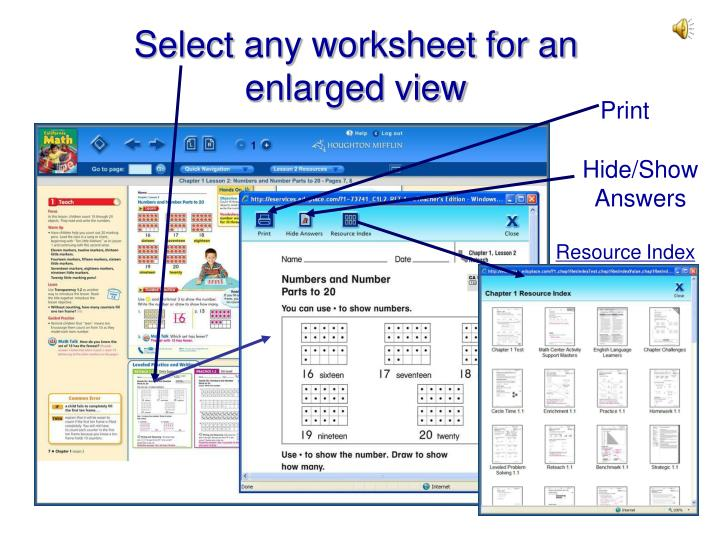 Select any worksheet for an         enlarged view