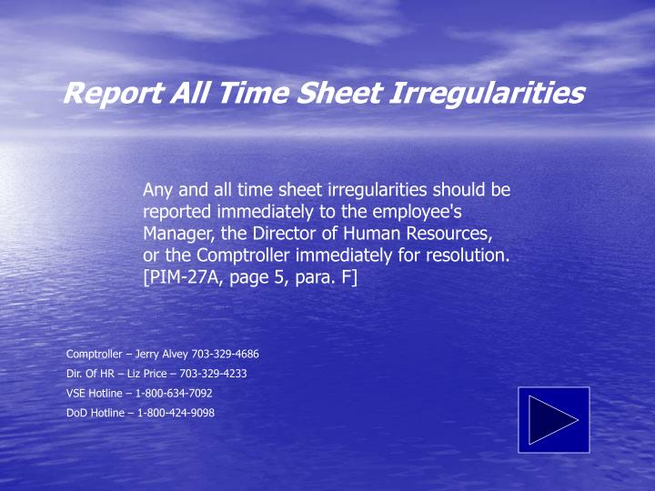 Report All Time Sheet Irregularities
