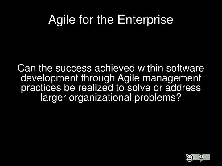 Agile for the Enterprise