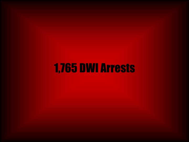 1,765 DWI Arrests