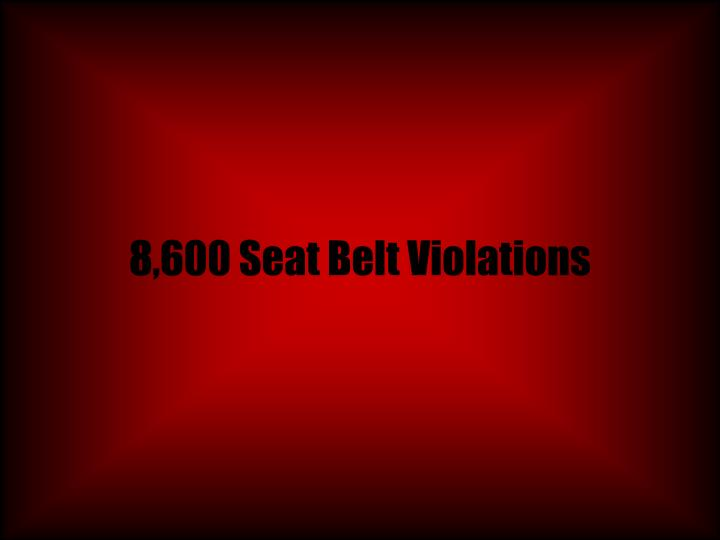 8,600 Seat Belt Violations