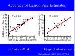 accuracy of lesion size estimates